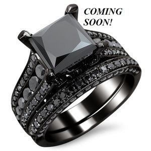 Black Princess Cz Engagement Ring Wedding Band Set